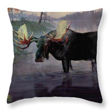Craven Moose Throw Pillow