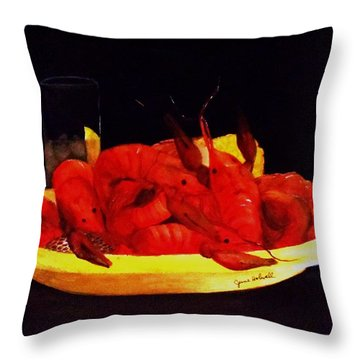 Crawfish Small Portion Throw Pillow by June Holwell