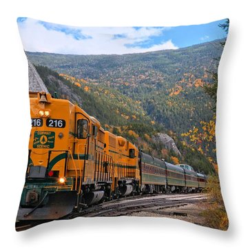 Crawford Notch Train Depot Throw Pillow