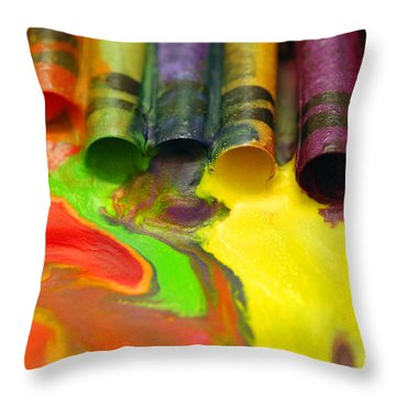 Crayon Cooperation Throw Pillow by Margie Chapman