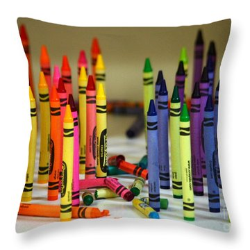 Crayon Wars Throw Pillow