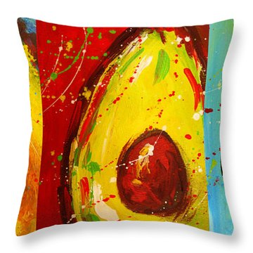 Crazy Avocados Triptych  Throw Pillow