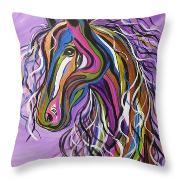 Throw Pillow featuring the painting Crazy Horse by Janice Rae Pariza