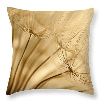 Creamy Dandelions Throw Pillow