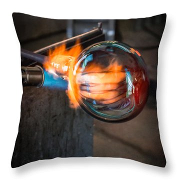 Creation At The Glass Blowers Bench Throw Pillow