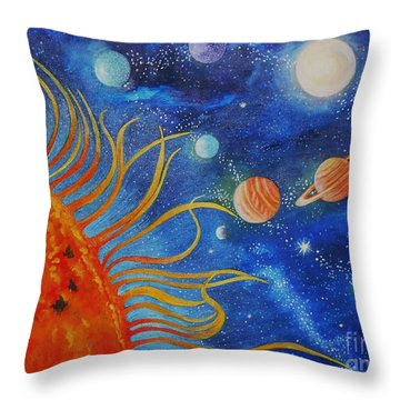 Creation Fourth Day Moon Sun Stars Planets Throw Pillow by Caroline Street