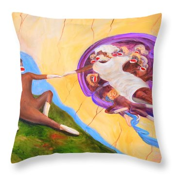 Creation Of A Sock Monkey Throw Pillow
