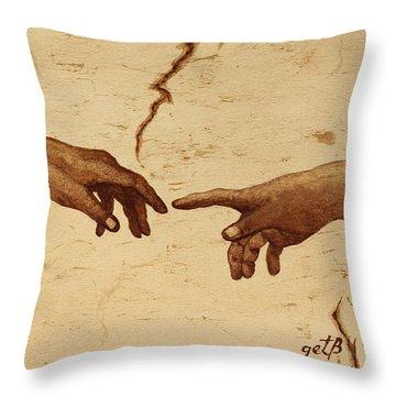 Creation Of Adam Hands A Study Coffee Painting Throw Pillow by Georgeta  Blanaru