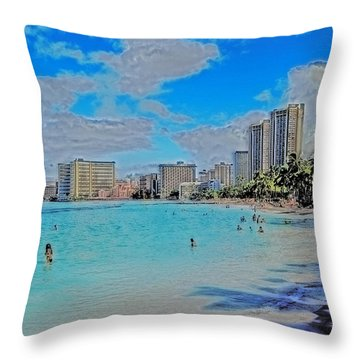 Throw Pillow featuring the photograph Creative Waikiki by Caroline Stella