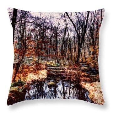 Creek At Pyramid Mountain Throw Pillow