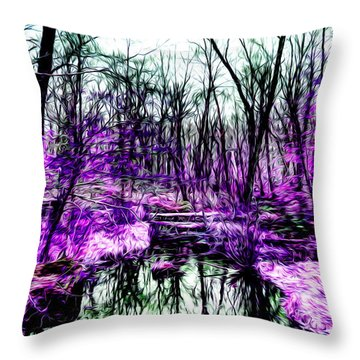 Creek By Purple Throw Pillow