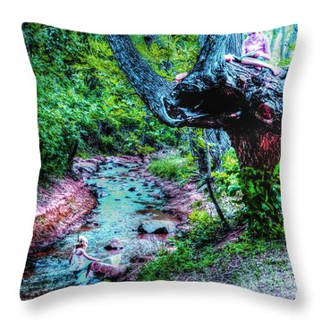 Throw Pillow featuring the photograph Creek Time Enchantment by Lanita Williams