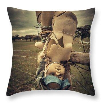 Creepy Broken Doll Throw Pillow