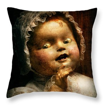 Creepy - Doll - Come Play With Me Throw Pillow by Mike Savad