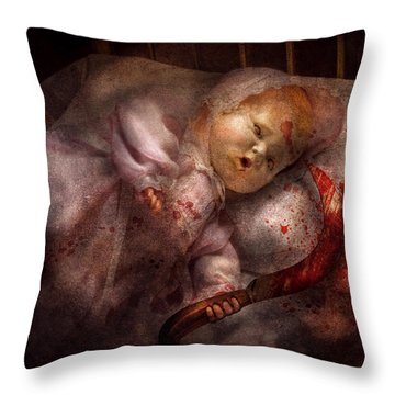 Creepy - Doll - Night Terrors Throw Pillow by Mike Savad