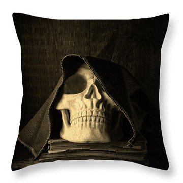 Creepy Hooded Skull Throw Pillow by Edward Fielding
