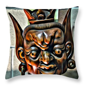Creepy Mask Two Throw Pillow by Alice Gipson