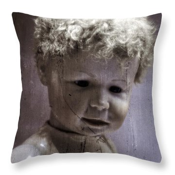 Creepy Old Doll Throw Pillow by Edward Fielding