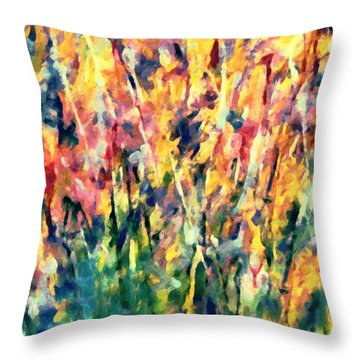 Crescendo Of Spring Abstract Throw Pillow