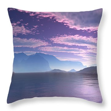 Throw Pillow featuring the digital art Crescent Bay Alien Landscape by Judi Suni Hall