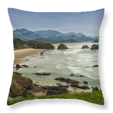 Crescent Beach Oregon Throw Pillow