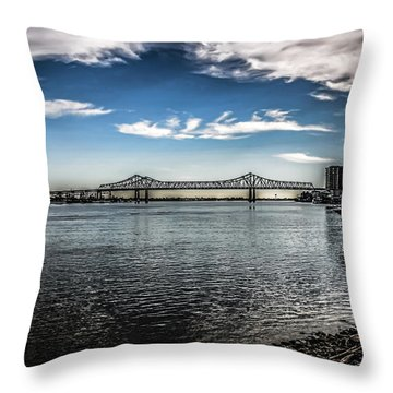 Crescent City Connection Bridge Throw Pillow
