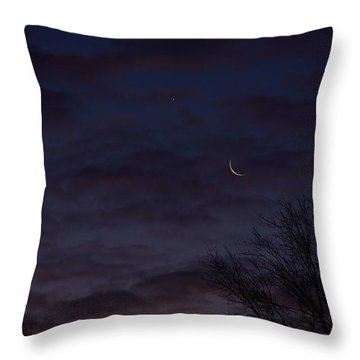 Crescent Moon And Venus Rising Throw Pillow