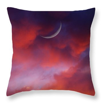 Throw Pillow featuring the photograph Crescent Moon In Purple by Joseph J Stevens