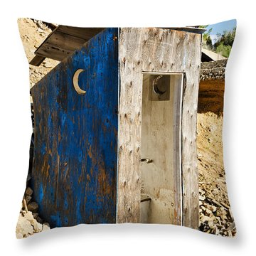 Throw Pillow featuring the photograph Crescent Moon Outhouse by Sue Smith