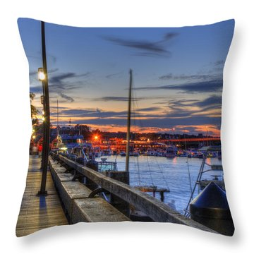 Crescent Moon Over Newburyport Harbor Throw Pillow