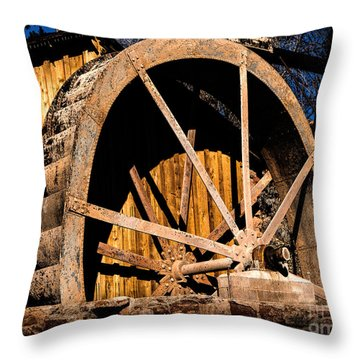 Old Building And Water Wheel Throw Pillow