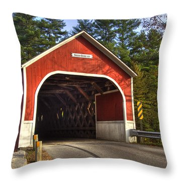 Cresson Covered Bridge 2 Throw Pillow by Joann Vitali