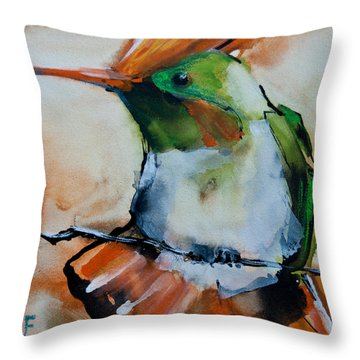 Throw Pillow featuring the painting Crested Croquette Hummingbird by Jani Freimann