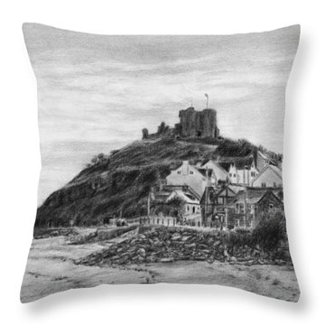 Criccieth Beach Wales Uk Throw Pillow