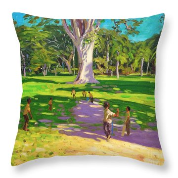 Cricket Match St George Granada Throw Pillow by Andrew Macara