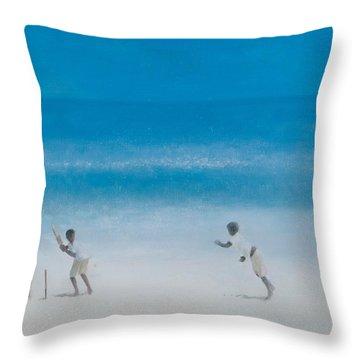 Cricket On The Beach, 2012 Acrylic On Canvas Throw Pillow