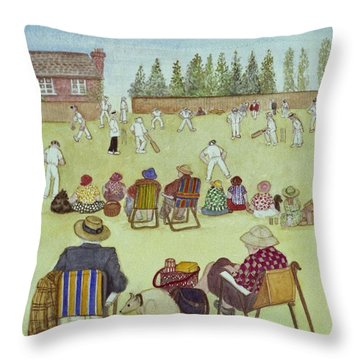 Cricket On The Green, 1987 Watercolour On Paper Throw Pillow by Gillian Lawson