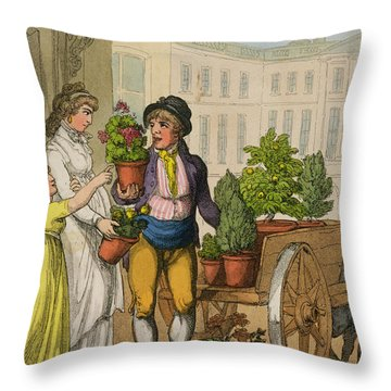 Cries Of London The Garden Pot Seller Throw Pillow by Thomas Rowlandson