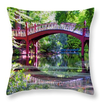 Crim Dell Bridge William And Mary College Throw Pillow