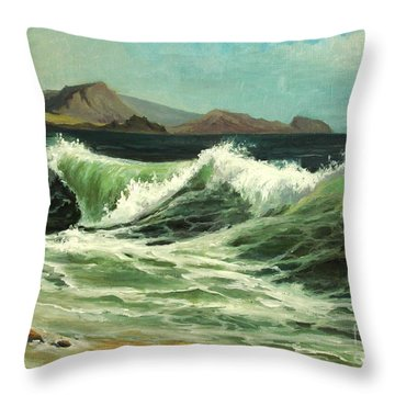 Throw Pillow featuring the painting Crimea Seashore by Mikhail Savchenko