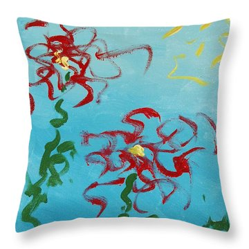 Throw Pillow featuring the painting Crimson And Clover 2 by Lola Connelly