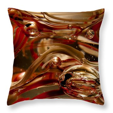 Crimson And Gray Glass Macro Ws4 Throw Pillow by David Patterson