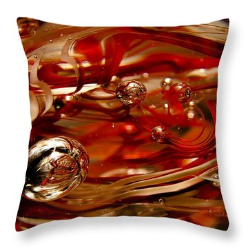 Crimson And Gray Glass Macro Ws6 Throw Pillow by David Patterson