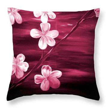 Crimson Cherry Blossom Throw Pillow by Mark Moore
