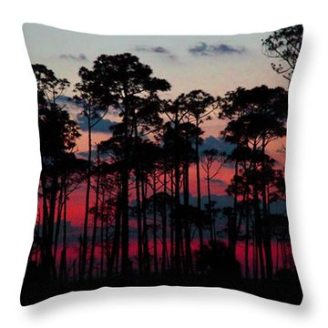 Crimson In The Pines Throw Pillow