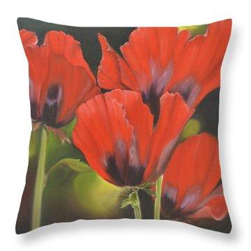 Crimson Petals Throw Pillow