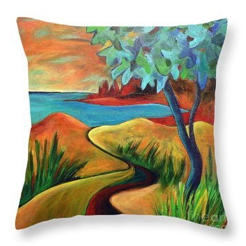 Throw Pillow featuring the painting Crimson Shore by Elizabeth Fontaine-Barr