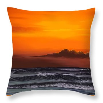 Throw Pillow featuring the drawing Crimson Sunset by Anthony Fishburne