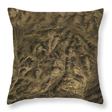 Antique Map - Cripple Creek Mining District Birdseye Map - 1895 Throw Pillow by Eric Glaser