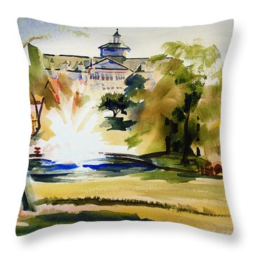 Crisp Water Fountain At The Baptist Home II Throw Pillow by Kip DeVore